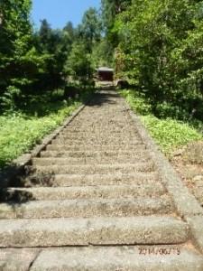 妙義神社の石段を見上げる
