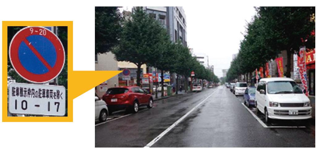 商店街における駐車需要に対応するため、駐車需 要の多い時間帯に限り駐車標示枠内の 駐車車両を駐車規制の対象から除くとする規制の緩和例
