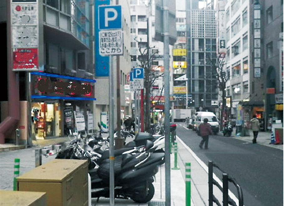 普通自動二輪車(125CC以下)及び原動機付自転車を駐車可能とする規制の緩和例