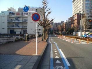 利用率の低いパーキング・メーターを撤去し、自動車専用通行帯(カラー塗装)を整備した道路空間の有効活用例